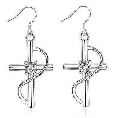 Elegant Diamond Cross Earrings - The Divine Bazaar
