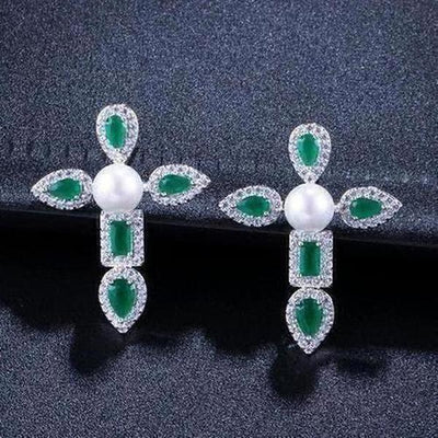Elegant Pearl And Cubic Zirconia Green Stone Cross Earrings - The Divine Bazaar
