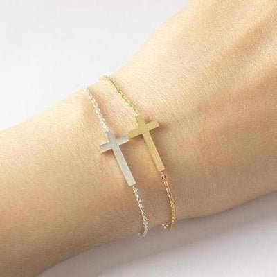 Elegant Sideways Cross Bracelet - The Divine Bazaar