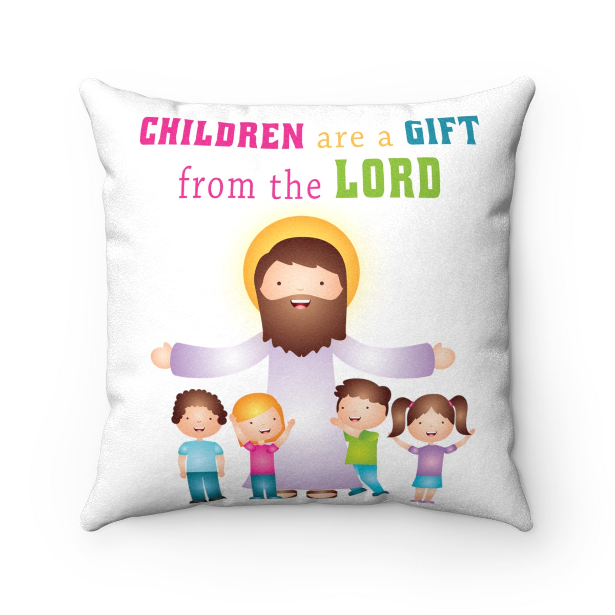 Children are a Gift Faux Suede Square Pillow
