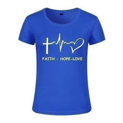 Faith Hope Love Christian Print O-Neck T-shirt - The Divine Bazaar