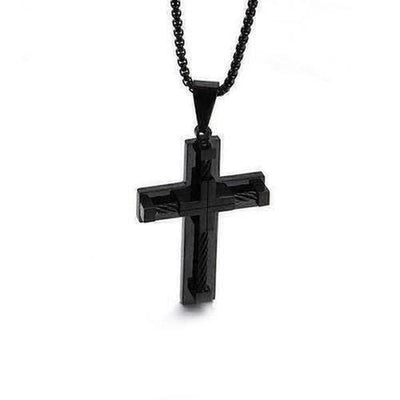 Fashion Male Crystal Cross Pendant Silver Gold Black Stainless Steel - The Divine Bazaar