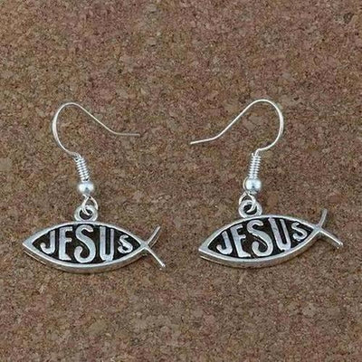 "Fish shape ""jesus"" Earring - The Divine Bazaar"