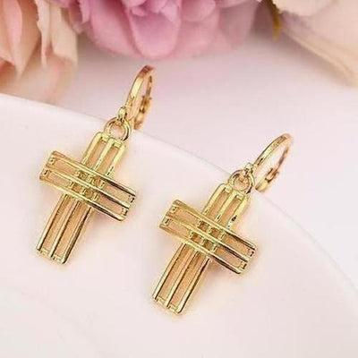 God Bless Charm Cross Earrings - The Divine Bazaar