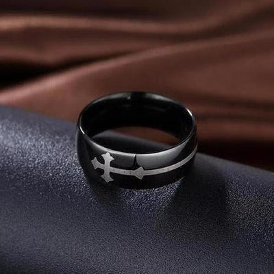 God Bless Lucky Christian Crucifix Jesus Ring - The Divine Bazaar