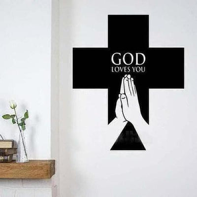 God Loves You Cross Pray Wall Sticker - The Divine Bazaar