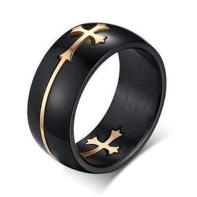 Gold Black Two-Tone Holy Cross Signet Ring - The Divine Bazaar