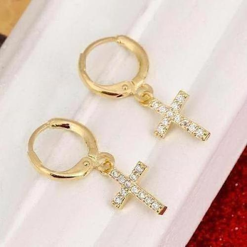 Small Cross Earrings For Women Girl Religious Jesus Stone Earrings - The Divine Bazaar