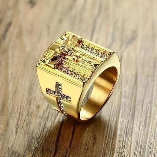 Jesus Cross White Cubic Zirconia Ring for Men Gold Tone Stainless - The Divine Bazaar