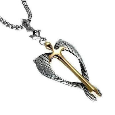 Guardian Angel Wings Cross Pendant Necklace - The Divine Bazaar