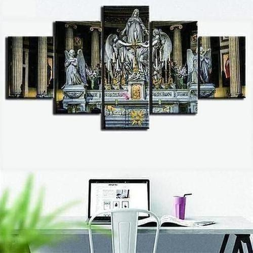 HD Printed 5 Panels Jesus Christian Church Wall Art Canvas - The Divine Bazaar