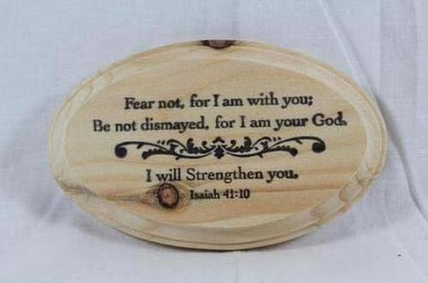 "Homemade ""I will strengthen you."" Plaque - The Divine Bazaar"