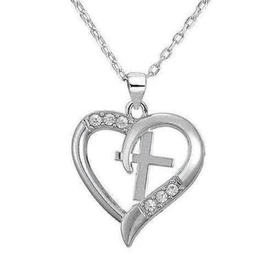 I Love Jesus Cross Heart Pendant Necklace - The Divine Bazaar