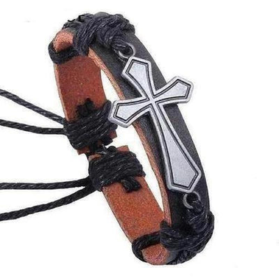 Jesus Cross Black Leather Bracelet - The Divine Bazaar