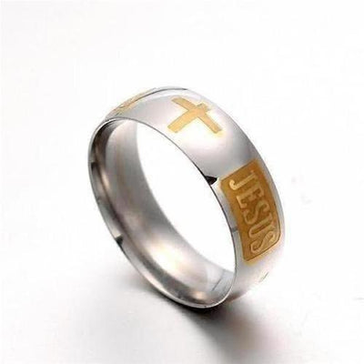 Jesus Cross Letter Bible Ring - The Divine Bazaar