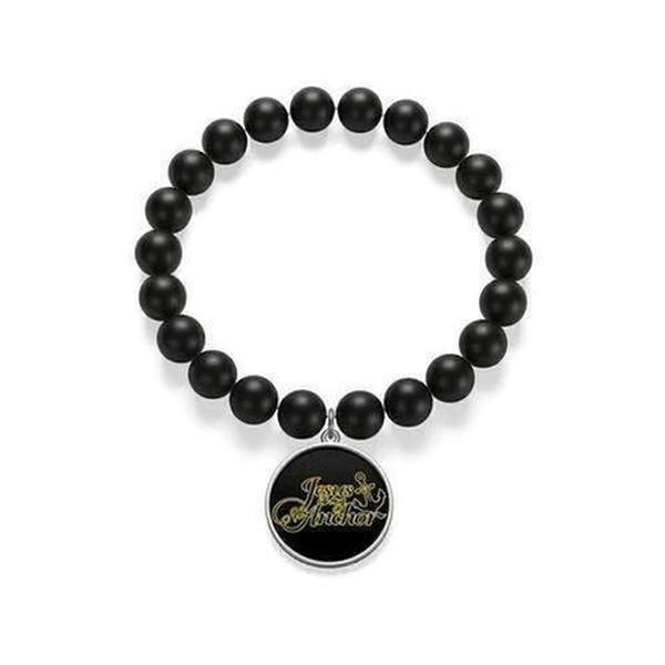 """Jesus is my Anchor"" Matte Onyx Bracelet"