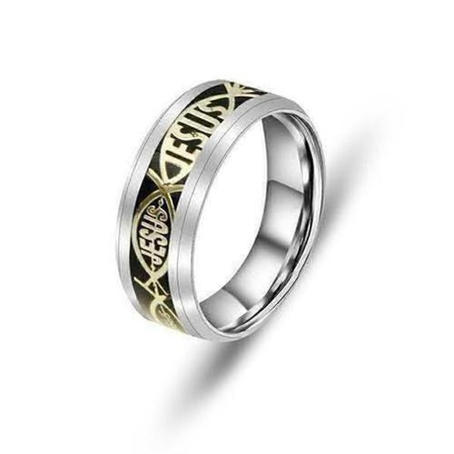 JESUS Letter Men's Titanium Steel Rings - The Divine Bazaar