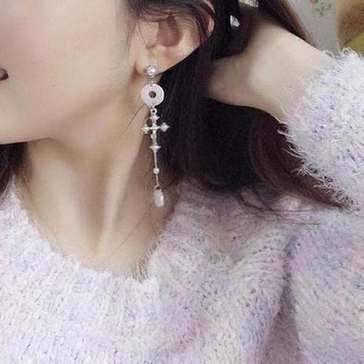 Korean Style Anti-allergy Cross Dangle Earring - The Divine Bazaar