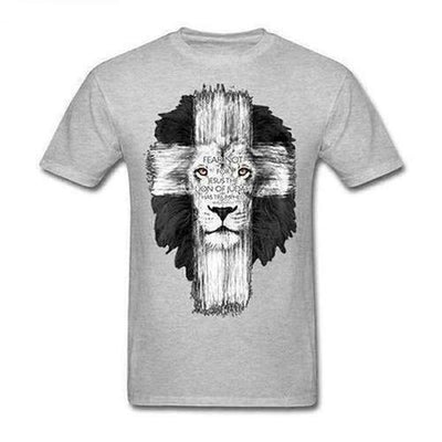 Lion Cross Fear Jesus T-Shirt - The Divine Bazaar