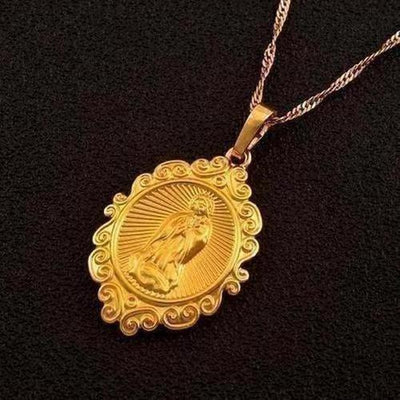 Lucky Gold Color Virgin Mary Pendants Necklaces - The Divine Bazaar
