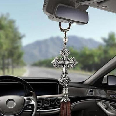 Metal And Crystal Diamond Cross Jesus Christian Car Pendant - The Divine Bazaar