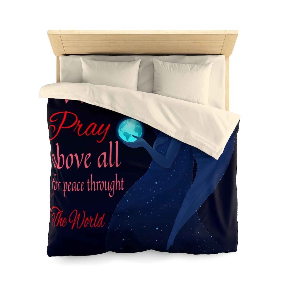 Microfiber Duvet Cover - We Pray Above All For Peace