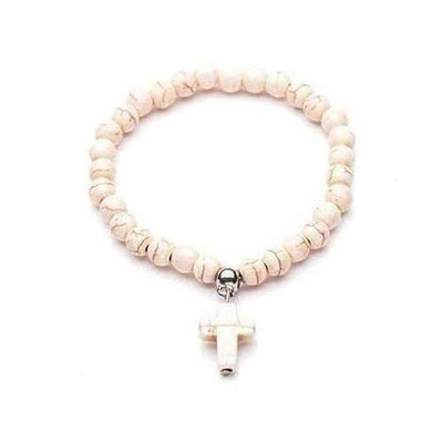 Natural Stone Beads Bracelets for Women Jesus Cross Charms - The Divine Bazaar