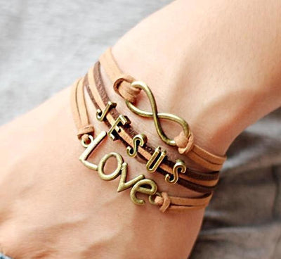 Infinity Jesus Love Genuine Leather Bracelet