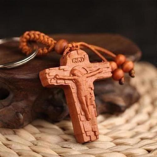 Rope Wooden Religious Charm Key Chain - The Divine Bazaar
