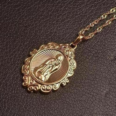 Rose Gold Color Lucky Virgin Mary Pendants Necklaces - The Divine Bazaar