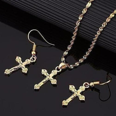Small Charm Cross Jesus Jewelry Set - The Divine Bazaar