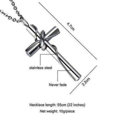 Stainless Steel Circle Cross Pendant Necklace - The Divine Bazaar