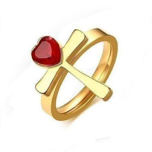 Stainless Steel Red Heart Rhinestone Cross Ring - The Divine Bazaar