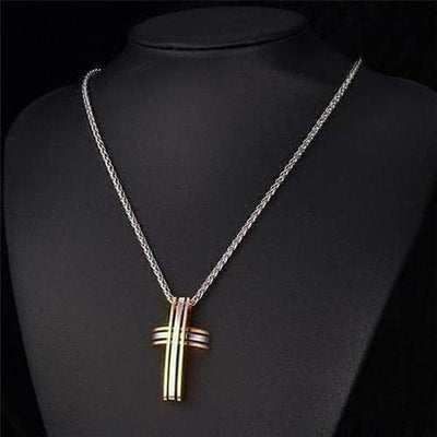 Stainless Steel Two Tone Cross Pendants Necklaces - The Divine Bazaar