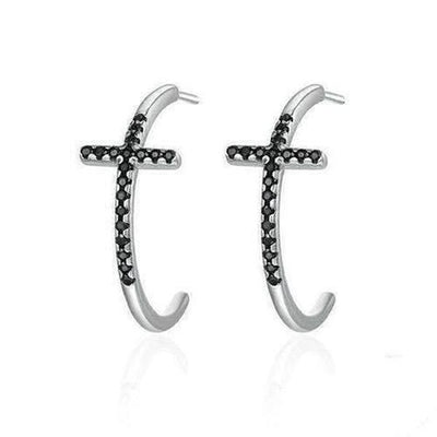 Sterling Silver Classic Cross Stud Earrings - The Divine Bazaar
