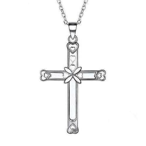 Sterling Silver Cross Pendant Necklace - The Divine Bazaar