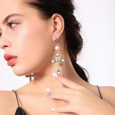 Vintage Metal Cross Drop Earring - The Divine Bazaar