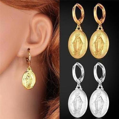 Virgin Mary Drop Earrings - The Divine Bazaar