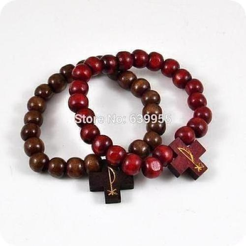 Wood Rosary Beads Charm Bracelets - The Divine Bazaar