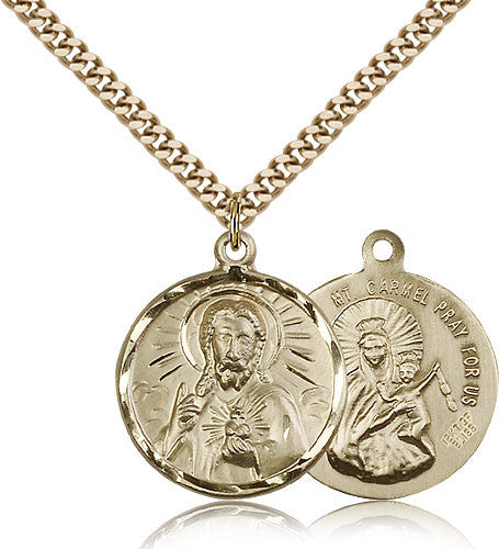 Gold Filled Scapular Medal with Chain Pendant