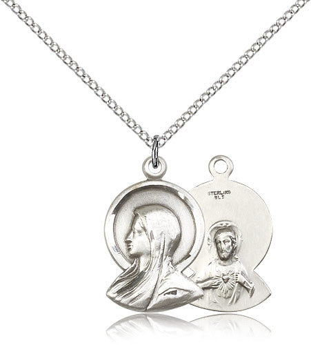 Sterling Silver Madonna Medal with Chain Pendant