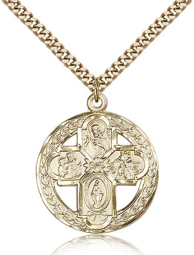 Gold Filled Four Way Medal with Chain Pendant