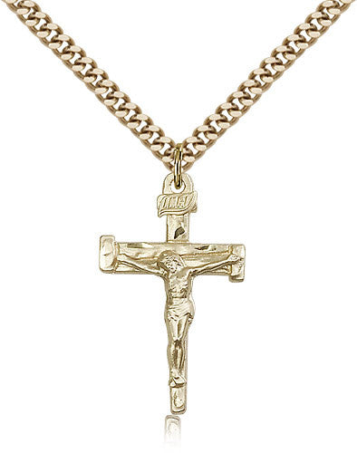 Gold Filled Nail Crucifix Medal with Chain Pendant
