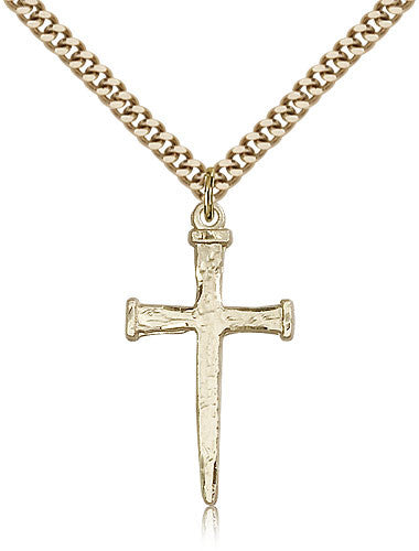 Gold Filled Nail Cross Medal with Chain Pendant