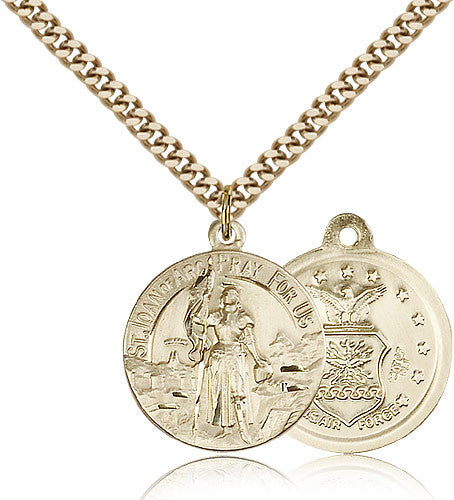 Gold Filled St. Joan of Arc - Air Force Medal with Chain Pendant