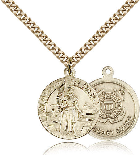 Gold Filled St. Joan of Arc - Coast Guard Medal with Chain Pendant