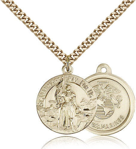 Gold Filled St. Joan of Arc - Marines Medal with Chain Pendant