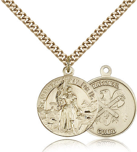 Gold Filled St. Joan of Arc - National Guard Medal with Chain Pendant