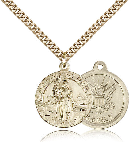 Gold Filled St. Joan of Arc - Navy Medal with Chain Pendant