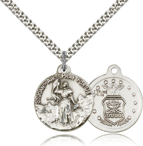Sterling Silver St. Joan of Arc Air Force Medal with Chain Pendant